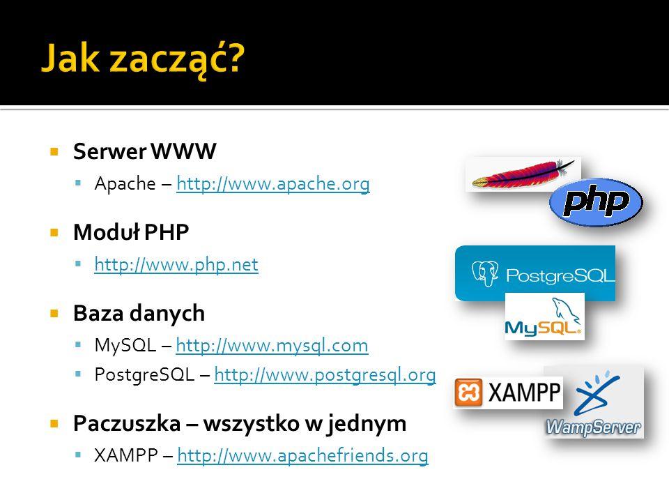  Serwer WWW  Apache – http://www.apache.orghttp://www.apache.org  Moduł PHP  http://www.php.net http://www.php.net  Baza danych  MySQL – http://