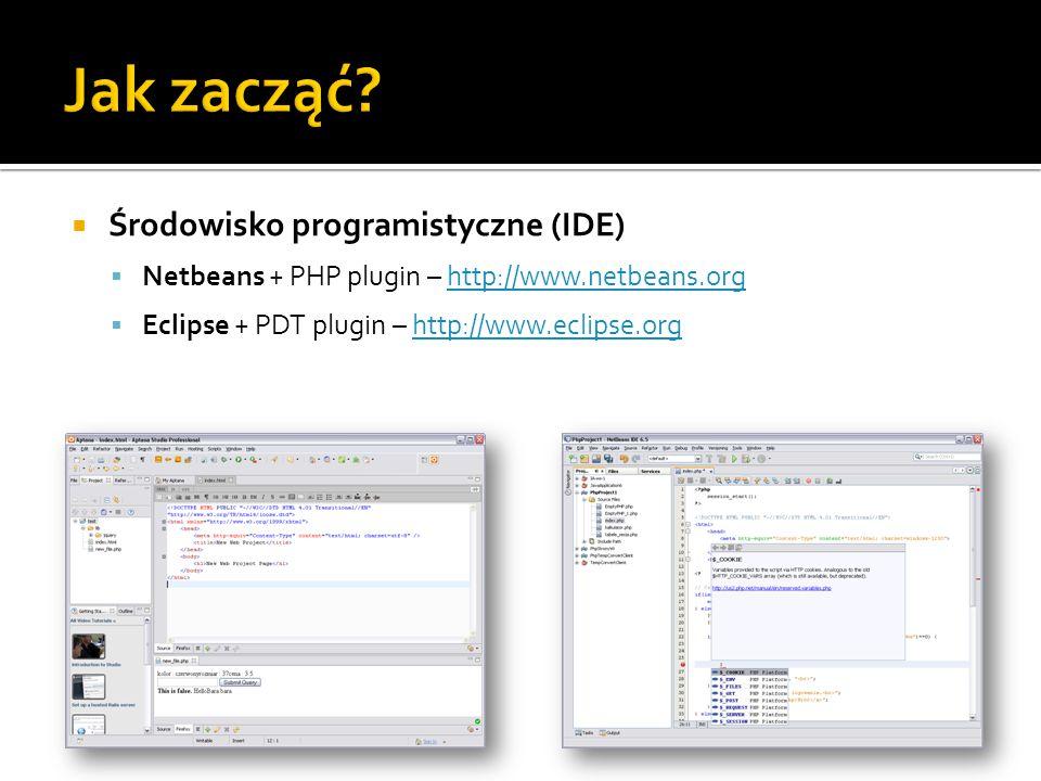  Środowisko programistyczne (IDE)  Netbeans + PHP plugin – http://www.netbeans.orghttp://www.netbeans.org  Eclipse + PDT plugin – http://www.eclips