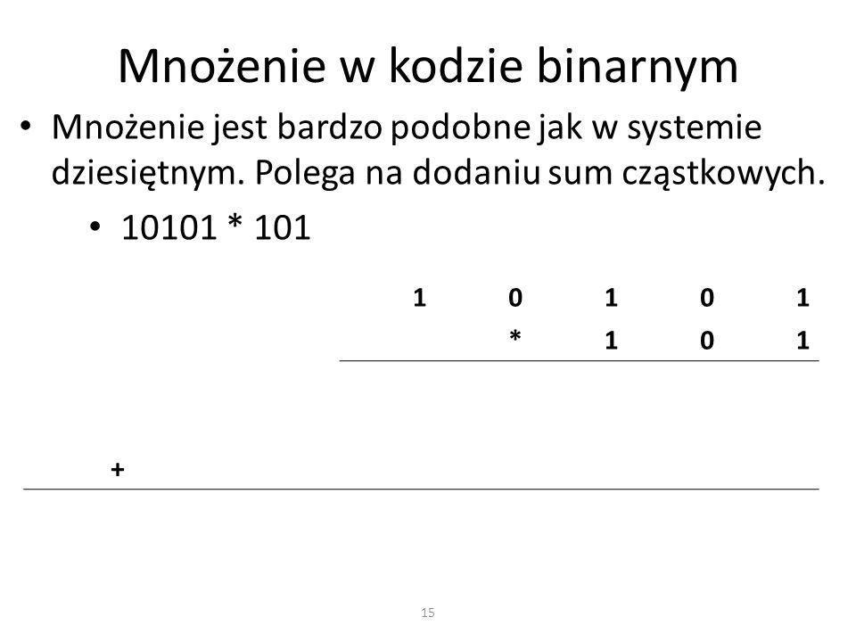 Mnożenie w kodzie binarnym Mnożenie jest bardzo podobne jak w systemie dziesiętnym. Polega na dodaniu sum cząstkowych. 10101 * 101 10101 *101 + 15