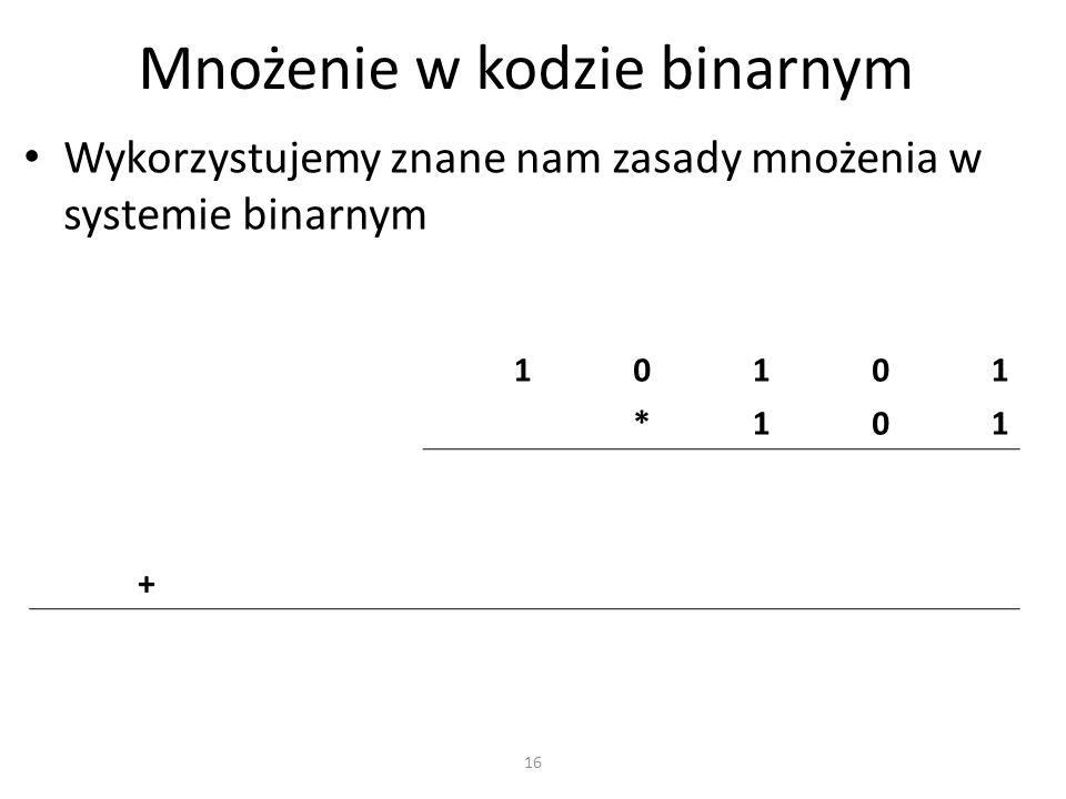 Mnożenie w kodzie binarnym Wykorzystujemy znane nam zasady mnożenia w systemie binarnym 10101 *101 + 16