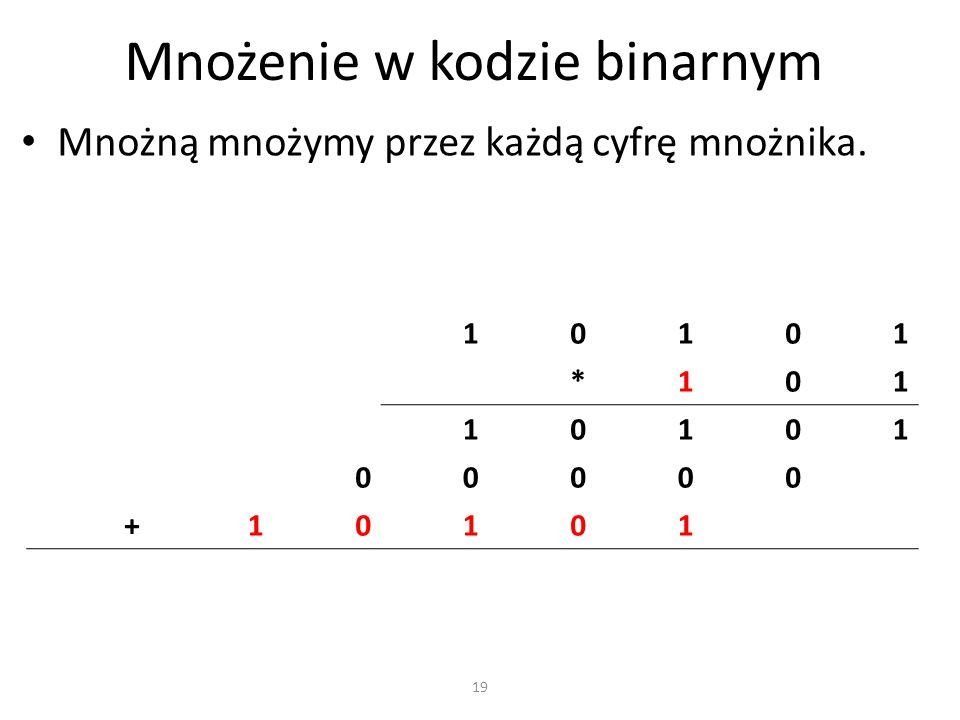 Mnożenie w kodzie binarnym Mnożną mnożymy przez każdą cyfrę mnożnika. 10101 *101 10101 00000 +10101 19