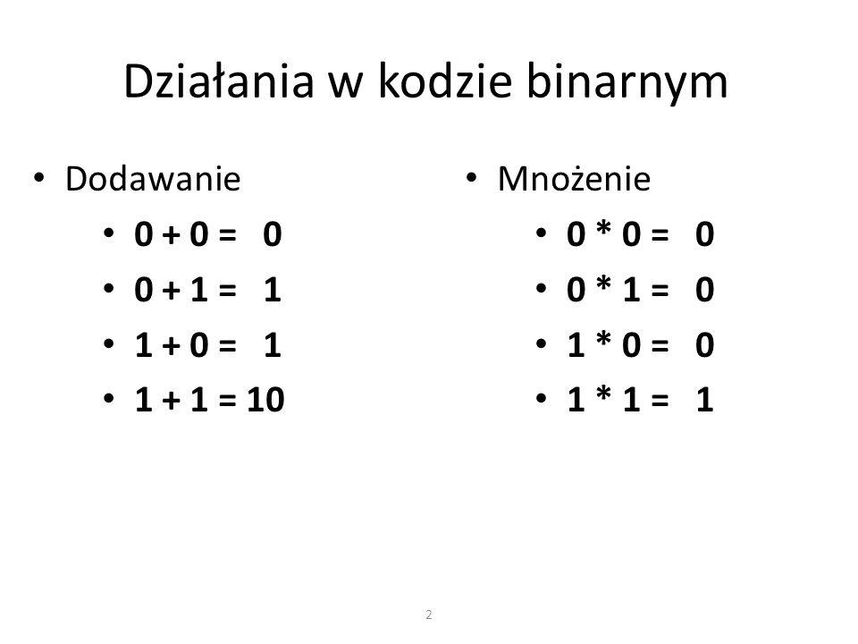 Działania w kodzie binarnym Dodawanie 0 + 0 = 0 0 + 1 = 1 1 + 0 = 1 1 + 1 = 10 2 Mnożenie 0 * 0 = 0 0 * 1 = 0 1 * 0 = 0 1 * 1 = 1