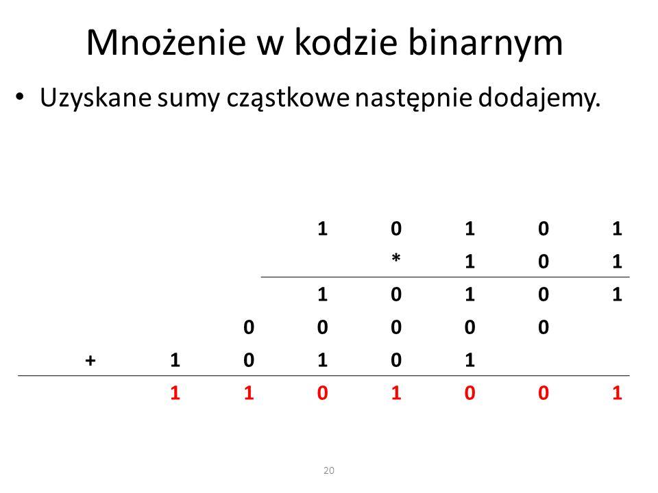 Mnożenie w kodzie binarnym Uzyskane sumy cząstkowe następnie dodajemy. 10101 *101 10101 00000 +10101 1101001 20