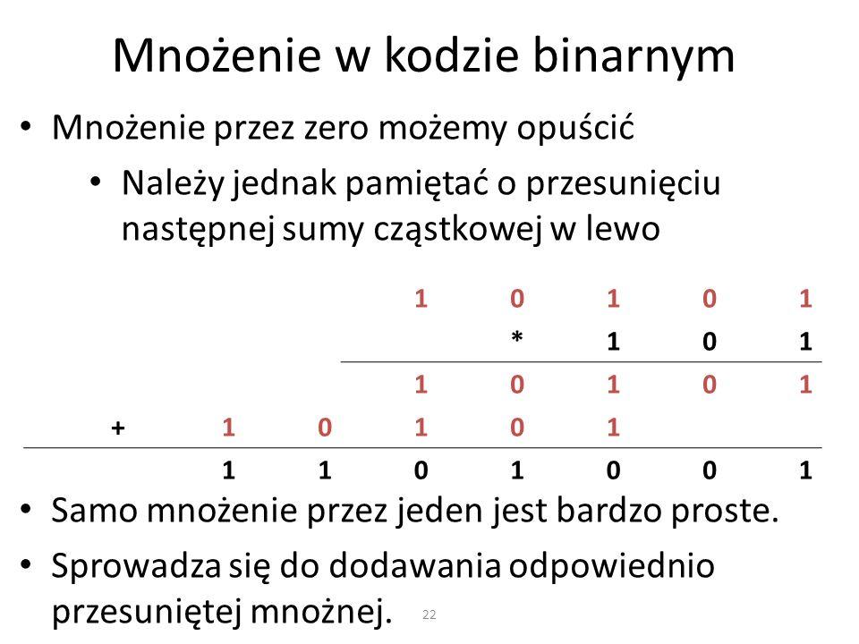 Mnożenie w kodzie binarnym Mnożenie przez zero możemy opuścić Należy jednak pamiętać o przesunięciu następnej sumy cząstkowej w lewo 10101 *101 10101
