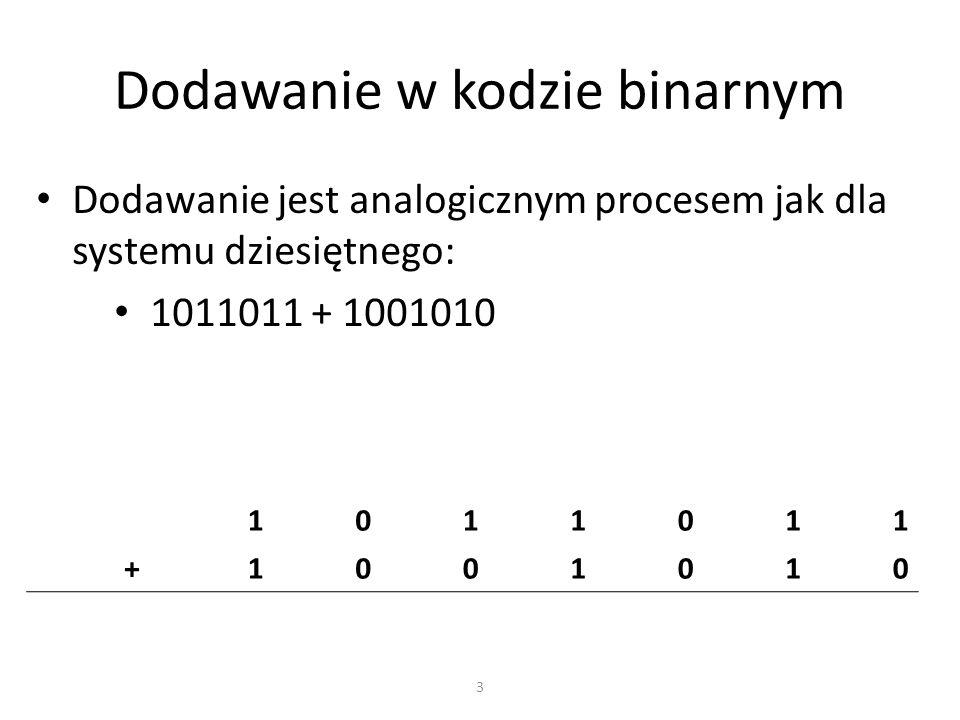 Dodawanie w kodzie binarnym Dodajemy od najbardziej skrajnie prawej kolumny w kierunku do lewej.
