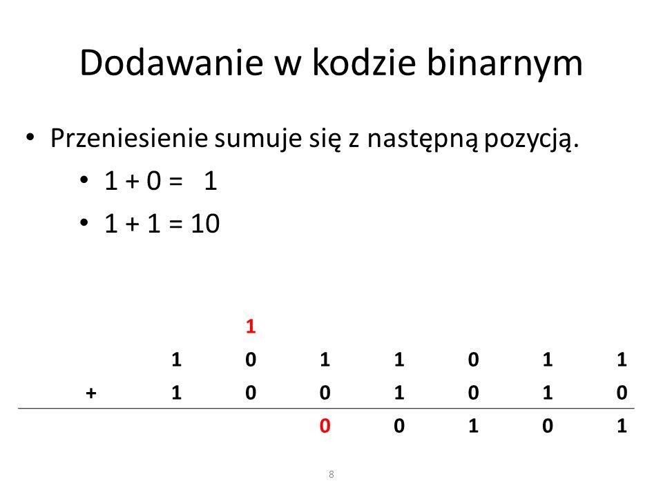 Dodawanie w kodzie binarnym Przeniesienie sumuje się z następną pozycją. 1 + 0 = 1 1 + 1 = 10 1 1011011 +1001010 00101 8