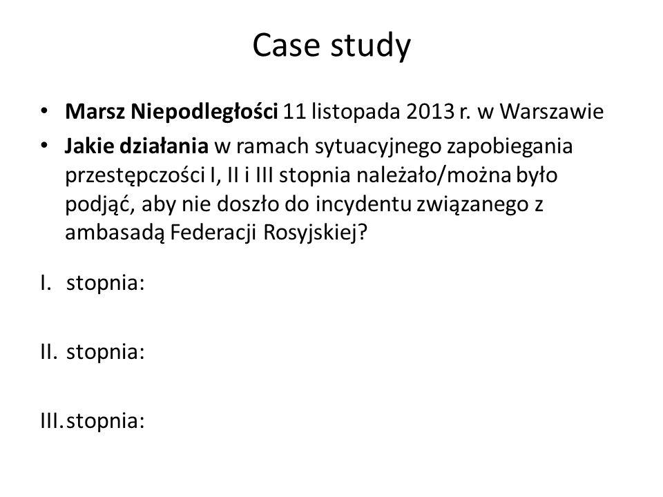 Case study Marsz Niepodległości 11 listopada 2013 r. w Warszawie Jakie działania w ramach sytuacyjnego zapobiegania przestępczości I, II i III stopnia