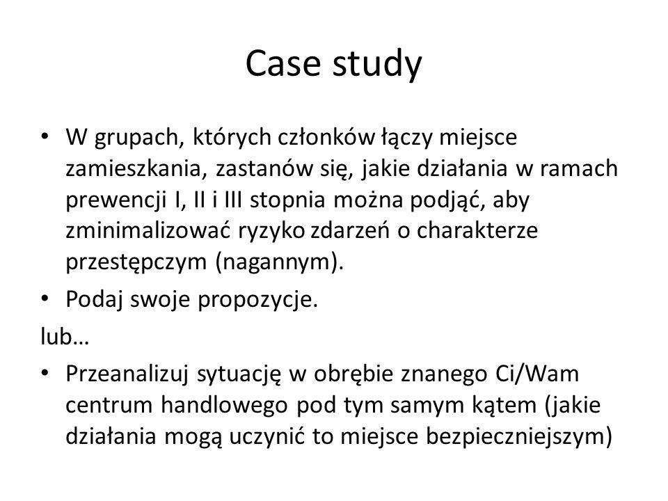 Case study W grupach, których członków łączy miejsce zamieszkania, zastanów się, jakie działania w ramach prewencji I, II i III stopnia można podjąć,