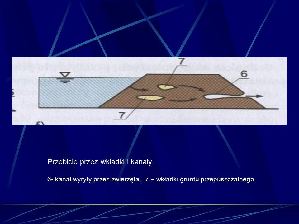 Przebicie przez wkładki i kanały. 6- kanał wyryty przez zwierzęta, 7 – wkładki gruntu przepuszczalnego