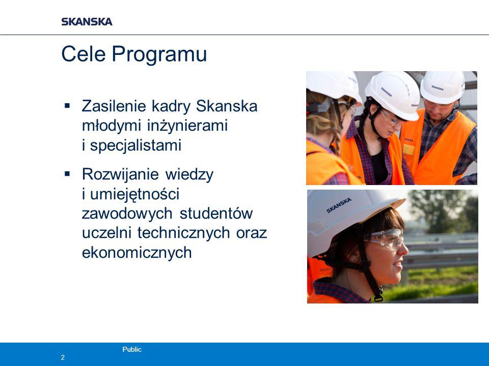 Cele Programu  Zasilenie kadry Skanska młodymi inżynierami i specjalistami  Rozwijanie wiedzy i umiejętności zawodowych studentów uczelni techniczny