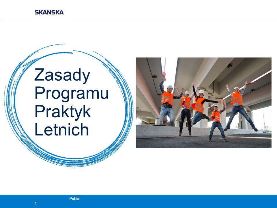 Public Zasady Programu Praktyk Letnich  12-tygodniowa praktyka w Skanska  1 lipca - 23 września  Miejsce odbywania praktyki:  konkretne projekty Skanska S.A.