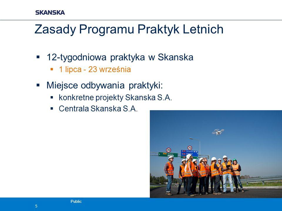 Public Zasady Programu Praktyk Letnich  12-tygodniowa praktyka w Skanska  1 lipca - 23 września  Miejsce odbywania praktyki:  konkretne projekty S