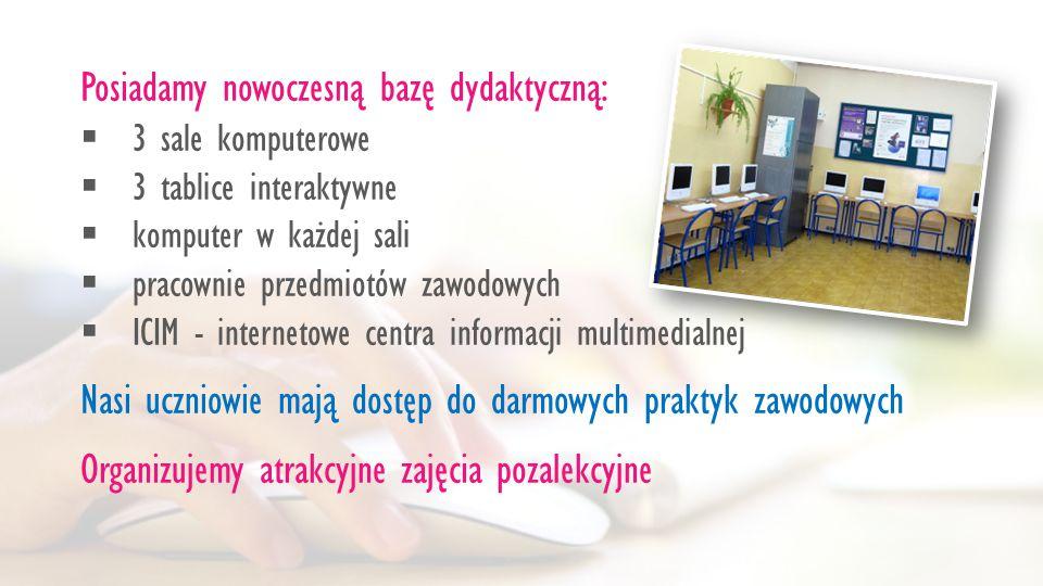 Posiadamy nowoczesną bazę dydaktyczną:  3 sale komputerowe  3 tablice interaktywne  komputer w każdej sali  pracownie przedmiotów zawodowych  ICIM - internetowe centra informacji multimedialnej Nasi uczniowie mają dostęp do darmowych praktyk zawodowych Organizujemy atrakcyjne zajęcia pozalekcyjne