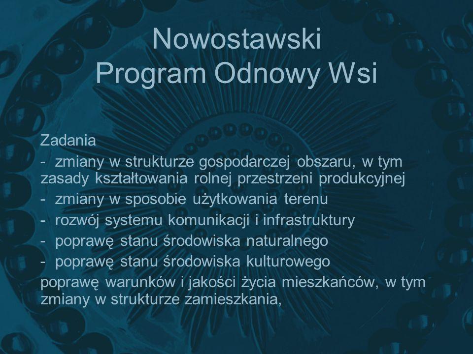 Nowostawski Program Odnowy Wsi Zadania -zmiany w strukturze gospodarczej obszaru, w tym zasady kształtowania rolnej przestrzeni produkcyjnej -zmiany w