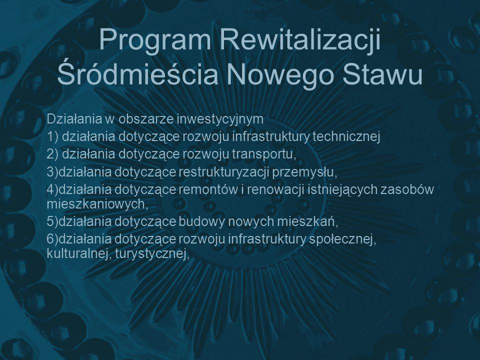 Program Rewitalizacji Śródmieścia Nowego Stawu Działania w obszarze inwestycyjnym 1) działania dotyczące rozwoju infrastruktury technicznej 2) działan