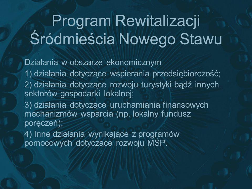 Program Rewitalizacji Śródmieścia Nowego Stawu Działania w obszarze ekonomicznym 1) działania dotyczące wspierania przedsiębiorczość; 2) działania dot