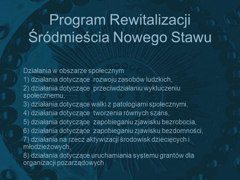 Program Rewitalizacji Śródmieścia Nowego Stawu Działania w obszarze społecznym 1) działania dotyczące rozwoju zasobów ludzkich, 2) działania dotyczące