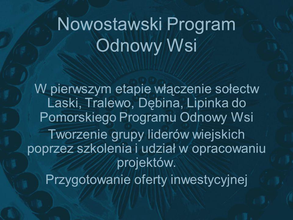 Nowostawski Program Odnowy Wsi W pierwszym etapie włączenie sołectw Laski, Tralewo, Dębina, Lipinka do Pomorskiego Programu Odnowy Wsi Tworzenie grupy