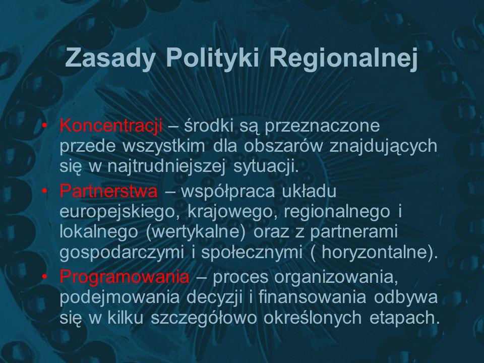 Zasady Polityki Regionalnej Koncentracji – środki są przeznaczone przede wszystkim dla obszarów znajdujących się w najtrudniejszej sytuacji. Partnerst
