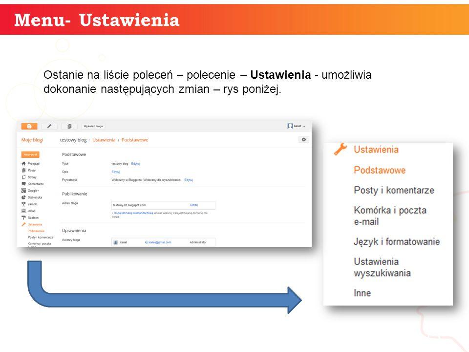 Menu- Ustawienia informatyka + 13 Ostanie na liście poleceń – polecenie – Ustawienia - umożliwia dokonanie następujących zmian – rys poniżej.