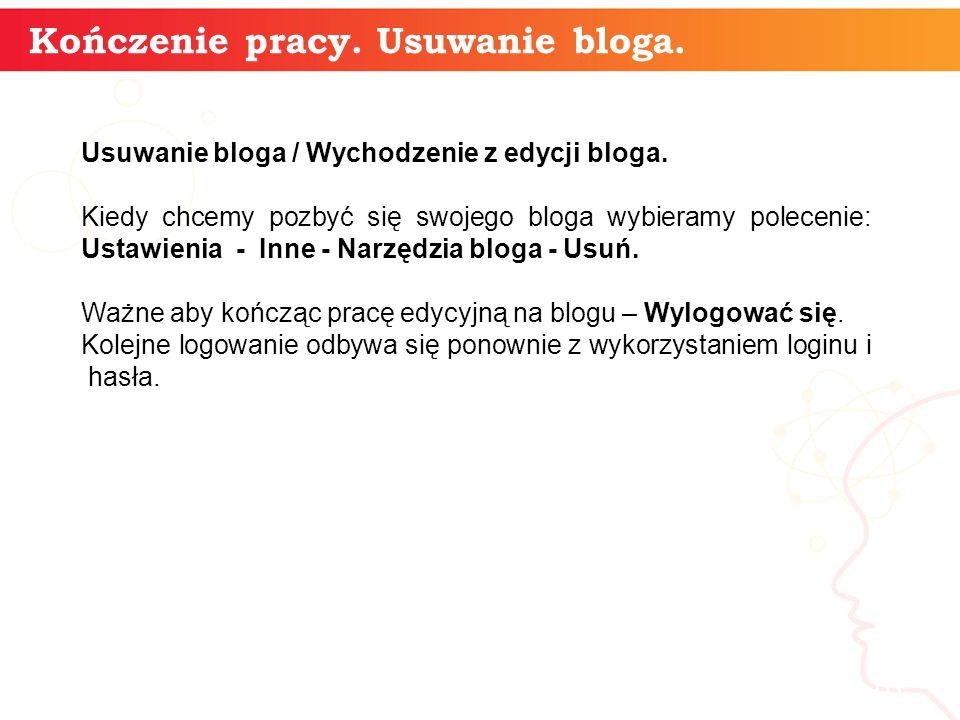 Kończenie pracy. Usuwanie bloga. informatyka + 16 Usuwanie bloga / Wychodzenie z edycji bloga. Kiedy chcemy pozbyć się swojego bloga wybieramy polecen