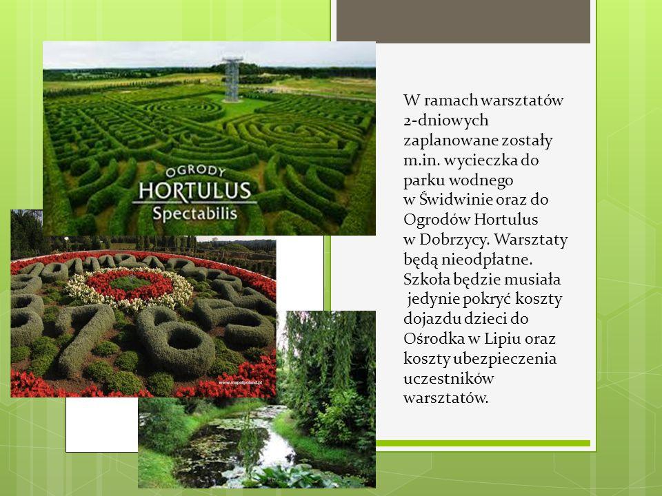 W ramach warsztatów 2-dniowych zaplanowane zostały m.in. wycieczka do parku wodnego w Świdwinie oraz do Ogrodów Hortulus w Dobrzycy. Warsztaty będą ni