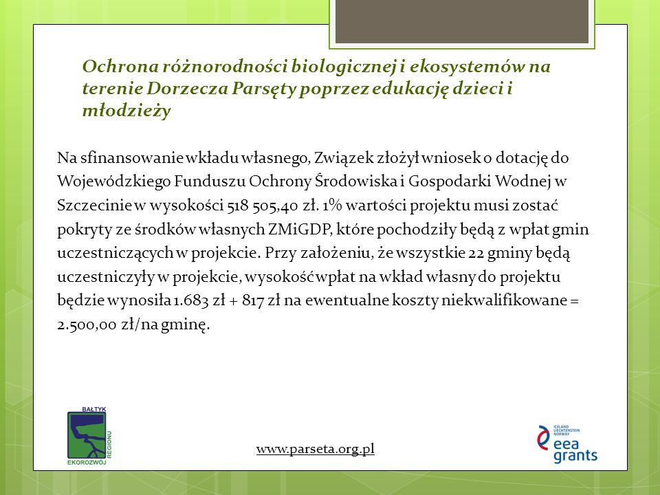 Ochrona różnorodności biologicznej i ekosystemów na terenie Dorzecza Parsęty poprzez edukację dzieci i młodzieży www.parseta.org.pl Na sfinansowanie w
