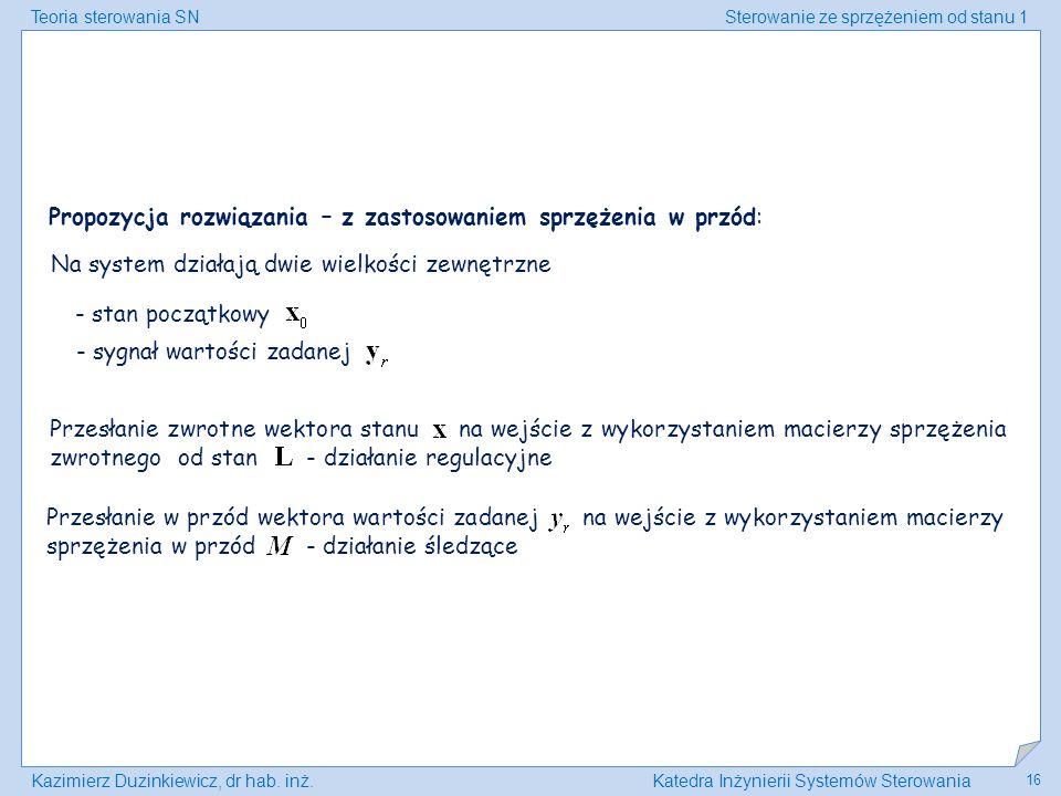 Teoria sterowania SNSterowanie ze sprzężeniem od stanu 1 Kazimierz Duzinkiewicz, dr hab. inż.Katedra Inżynierii Systemów Sterowania 16 Propozycja rozw