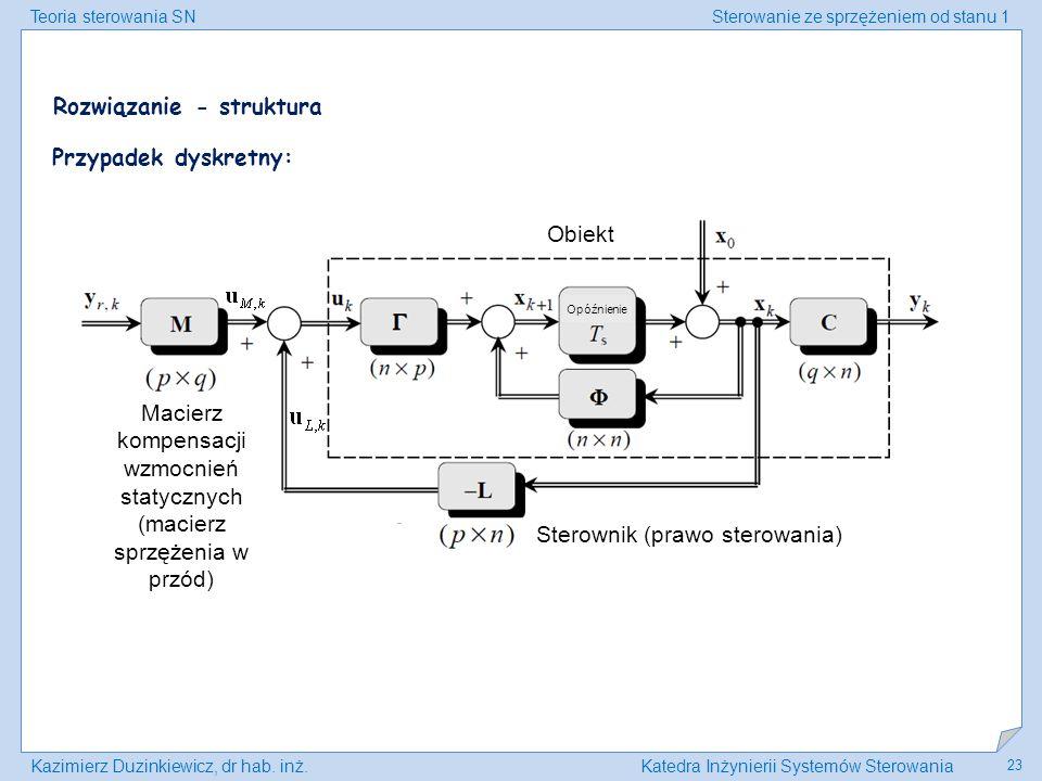 Teoria sterowania SNSterowanie ze sprzężeniem od stanu 1 Kazimierz Duzinkiewicz, dr hab. inż.Katedra Inżynierii Systemów Sterowania 23 Przypadek dyskr