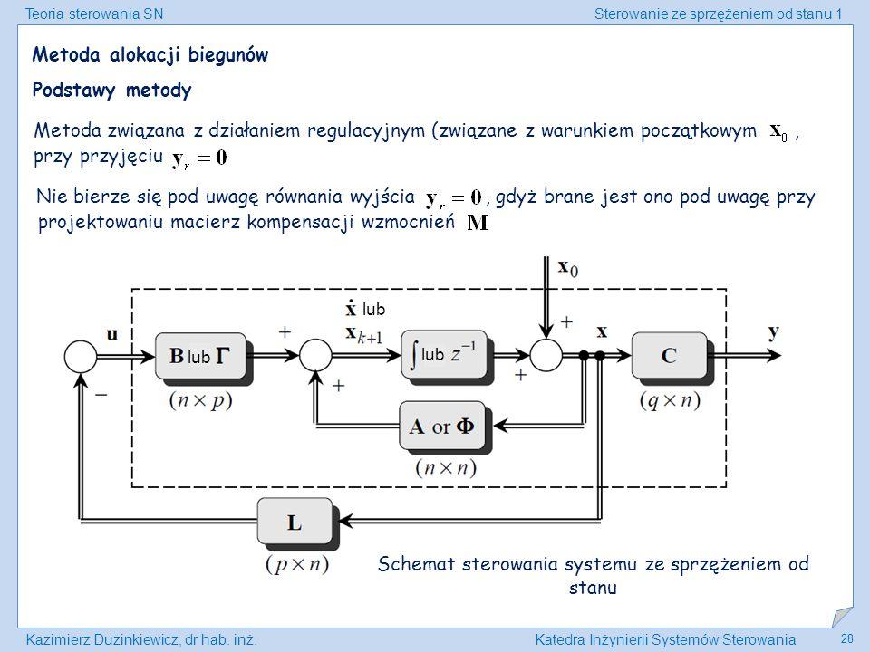 Teoria sterowania SNSterowanie ze sprzężeniem od stanu 1 Kazimierz Duzinkiewicz, dr hab. inż.Katedra Inżynierii Systemów Sterowania 28 Metoda alokacji