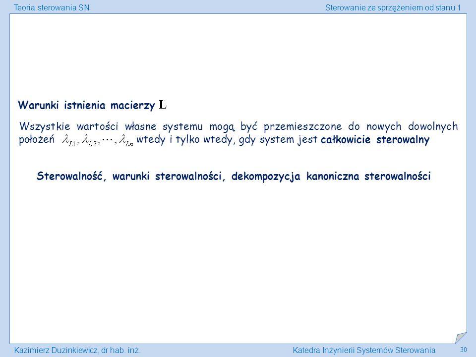Teoria sterowania SNSterowanie ze sprzężeniem od stanu 1 Kazimierz Duzinkiewicz, dr hab. inż.Katedra Inżynierii Systemów Sterowania 30 Warunki istnien