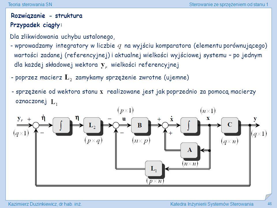 Teoria sterowania SNSterowanie ze sprzężeniem od stanu 1 Kazimierz Duzinkiewicz, dr hab. inż.Katedra Inżynierii Systemów Sterowania 46 - wprowadzamy i