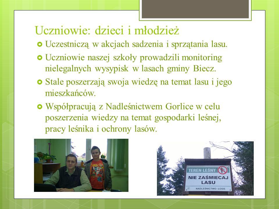 Uczniowie: dzieci i młodzież  Uczestniczą w akcjach sadzenia i sprzątania lasu.  Uczniowie naszej szkoły prowadzili monitoring nielegalnych wysypisk