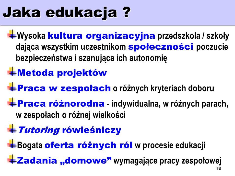 13 Jaka edukacja ? Wysoka kultura organizacyjna przedszkola / szkoły dająca wszystkim uczestnikom społeczności poczucie bezpieczeństwa i szanująca ich