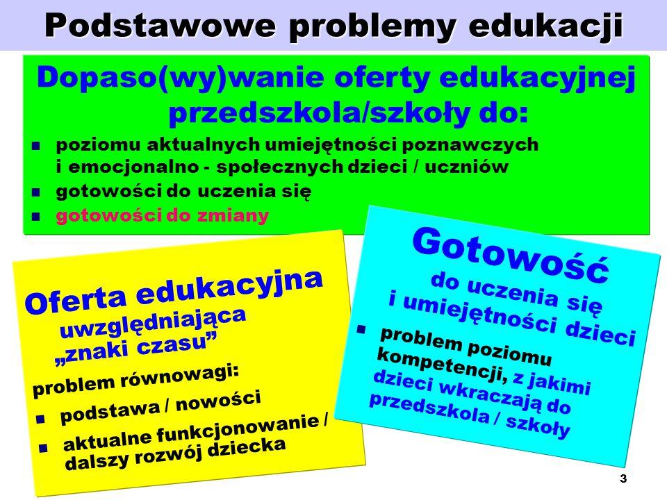 """3 Podstawowe problemy edukacji Dopaso(wy)wanie oferty edukacyjnej przedszkola/szkoły do: poziomu aktualnych umiejętności poznawczych i emocjonalno - społecznych dzieci / uczniów gotowości do uczenia się gotowości do zmiany Oferta edukacyjna uwzględniająca """"znaki czasu problem równowagi: podstawa / nowości aktualne funkcjonowanie / dalszy rozwój dziecka Gotowość do uczenia się i umiejętności dzieci problem poziomu kompetencji, z jakimi dzieci wkraczają do przedszkola / szkoły"""