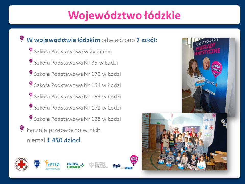 Województwo łódzkie W województwie łódzkim odwiedzono 7 szkół: Szkoła Podstawowa w Żychlinie Szkoła Podstawowa Nr 35 w Łodzi Szkoła Podstawowa Nr 172