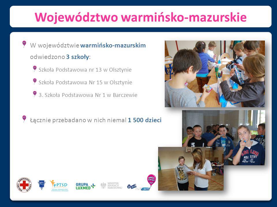 Województwo lubelskie W województwie lubelskim odwiedzono 2 szkoły: Szkoła Podstawowa nr 5 w Biłgoraju Szkoła Podstawowa nr 6 w Kraśniku Łącznie przebadano w nich ponad 1 100 dzieci