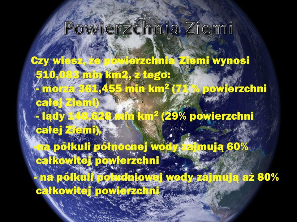 Czy wiesz, że powierzchnia Ziemi wynosi 510,083 min km2, z tego: - morza 361,455 min km 2 (71 % powierzchni całej Ziemi) - lądy 148,628 min km 2 (29%