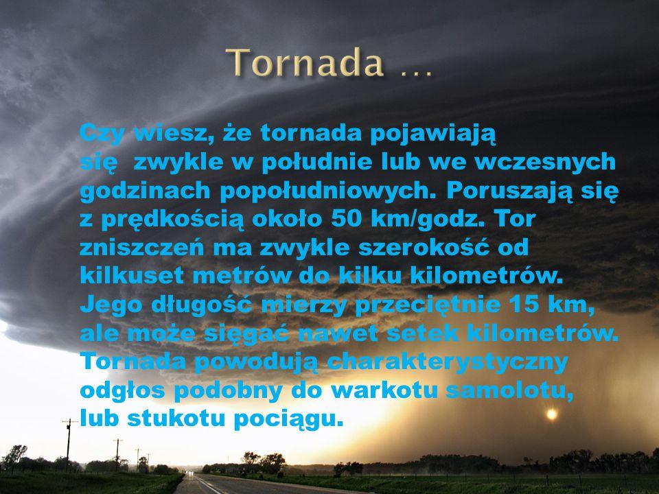 Czy wiesz, że tornada pojawiają się zwykle w południe lub we wczesnych godzinach popołudniowych. Poruszają się z prędkością około 50 km/godz. Tor znis