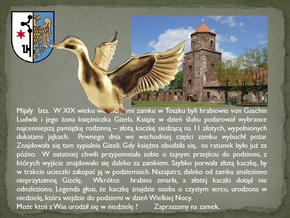 Mijały lata. W XIX wieku właścicielami zamku w Toszku byli hrabiowie von Gaschin Ludwik i jego żona księżniczka Gizela. Książę w dzień ślubu podarował