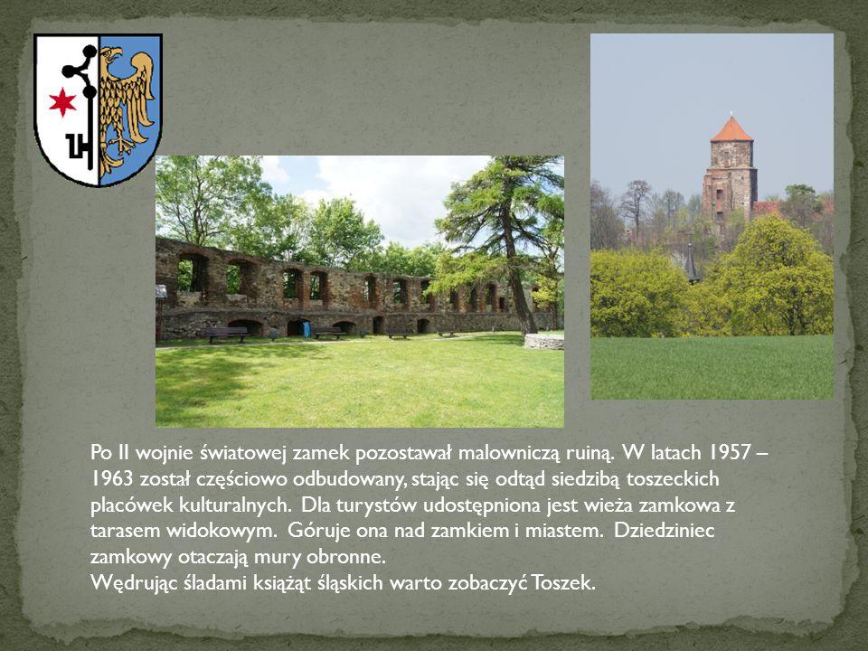 Po II wojnie światowej zamek pozostawał malowniczą ruiną. W latach 1957 – 1963 został częściowo odbudowany, stając się odtąd siedzibą toszeckich placó
