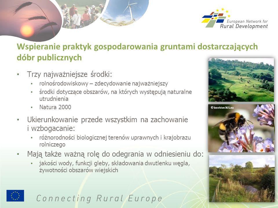 Wspieranie praktyk gospodarowania gruntami dostarczających dóbr publicznych Trzy najważniejsze środki: rolnośrodowiskowy – zdecydowanie najważniejszy środki dotyczące obszarów, na których występują naturalne utrudnienia Natura 2000 Ukierunkowanie przede wszystkim na zachowanie i wzbogacanie: różnorodności biologicznej terenów uprawnych i krajobrazu rolniczego Mają także ważną rolę do odegrania w odniesieniu do: jakości wody, funkcji gleby, składowania dwutlenku węgla, żywotności obszarów wiejskich © beehive365.eu