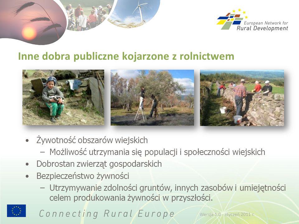 Praktyki rolnicze dostarczające dóbr publicznych Wszystkie typy rolnictwa mogą dostarczać dóbr publicznych, jeśli gruntami gospodaruje się właściwie Rodzaj i wymiar dostarczanych dóbr publicznych różni się w zależności od typu gospodarstwa rolnego i systemu gospodarowania Największej gamy dóbr publicznych dostarczają zazwyczaj: –systemy ekstensywnej produkcji zwierzęcej i produkcji mieszanej –bardziej tradycyjne uprawy stałe –systemy ekologiczne Bardziej wydajne systemy gospodarowania także mogą dostarczać dóbr publicznych, kiedy stosuje się praktyki korzystne dla środowiska i nowe technologie.