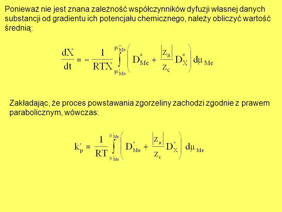 Ponieważ nie jest znana zależność współczynników dyfuzji własnej danych substancji od gradientu ich potencjału chemicznego, należy obliczyć wartość śr