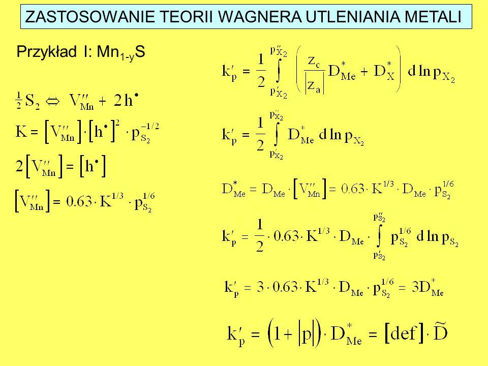 ZASTOSOWANIE TEORII WAGNERA UTLENIANIA METALI Przykład I: Mn 1-y S
