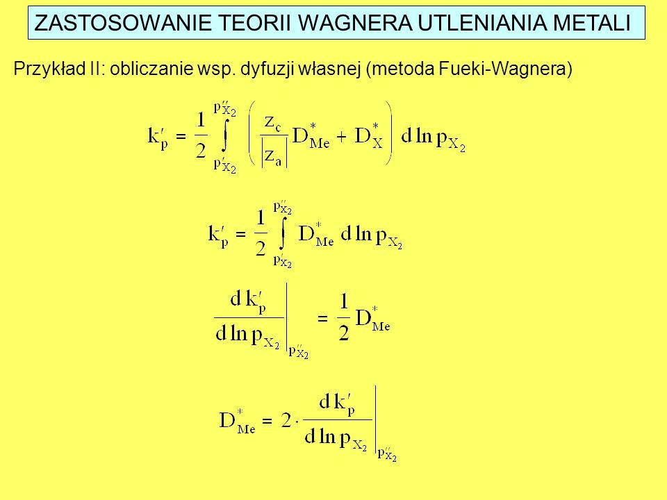 ZASTOSOWANIE TEORII WAGNERA UTLENIANIA METALI Przykład II: obliczanie wsp. dyfuzji własnej (metoda Fueki-Wagnera)
