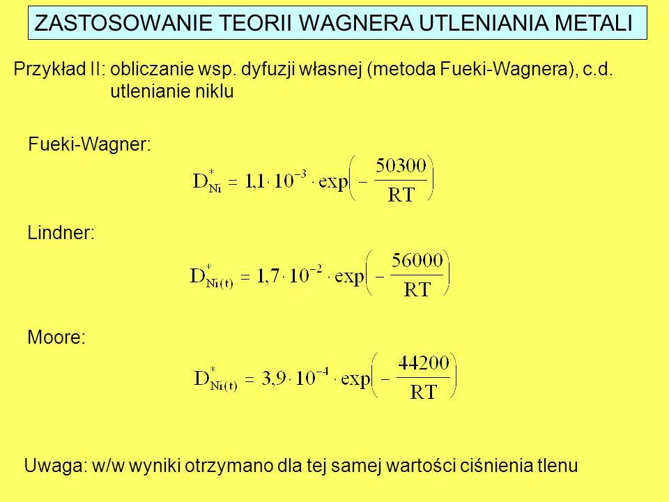 ZASTOSOWANIE TEORII WAGNERA UTLENIANIA METALI Przykład II: obliczanie wsp. dyfuzji własnej (metoda Fueki-Wagnera), c.d. utlenianie niklu Fueki-Wagner: