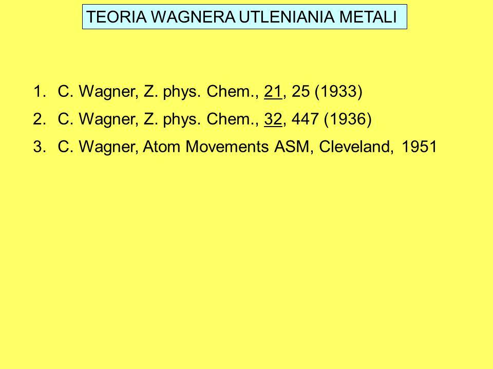 TEORIA WAGNERA UTLENIANIA METALI 1.C. Wagner, Z. phys. Chem., 21, 25 (1933) 2.C. Wagner, Z. phys. Chem., 32, 447 (1936) 3.C. Wagner, Atom Movements AS