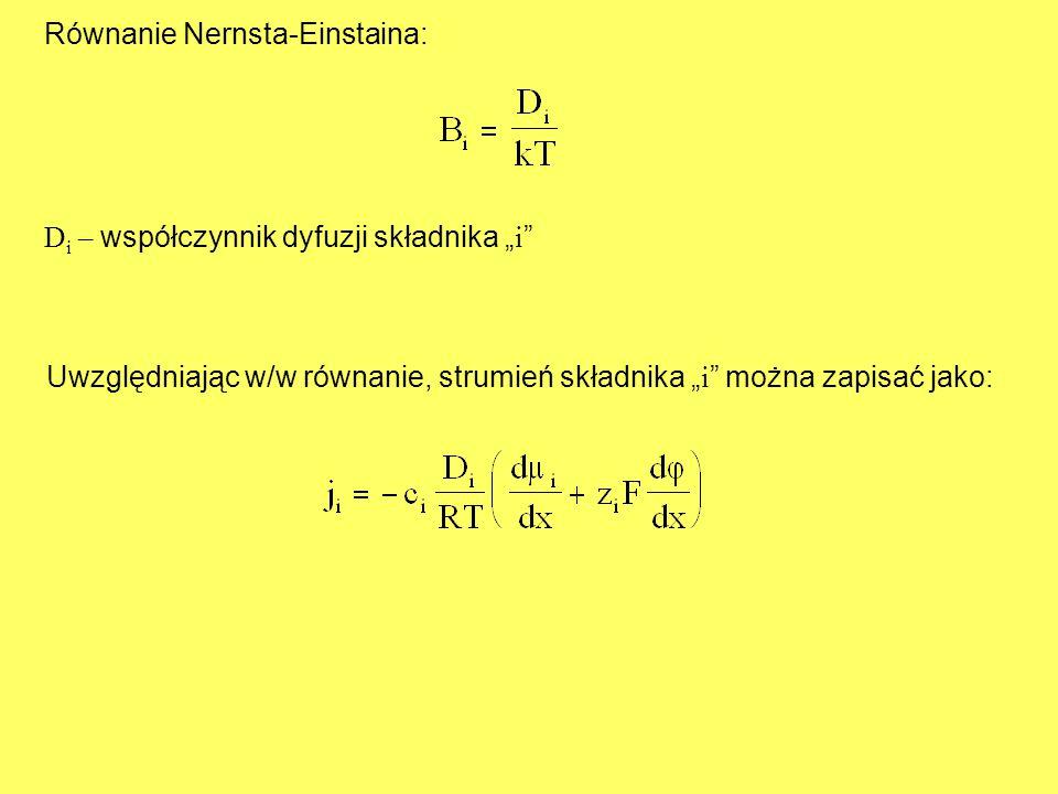 """Równanie Nernsta-Einstaina: D i – współczynnik dyfuzji składnika """" i """" Uwzględniając w/w równanie, strumień składnika """" i """" można zapisać jako:"""