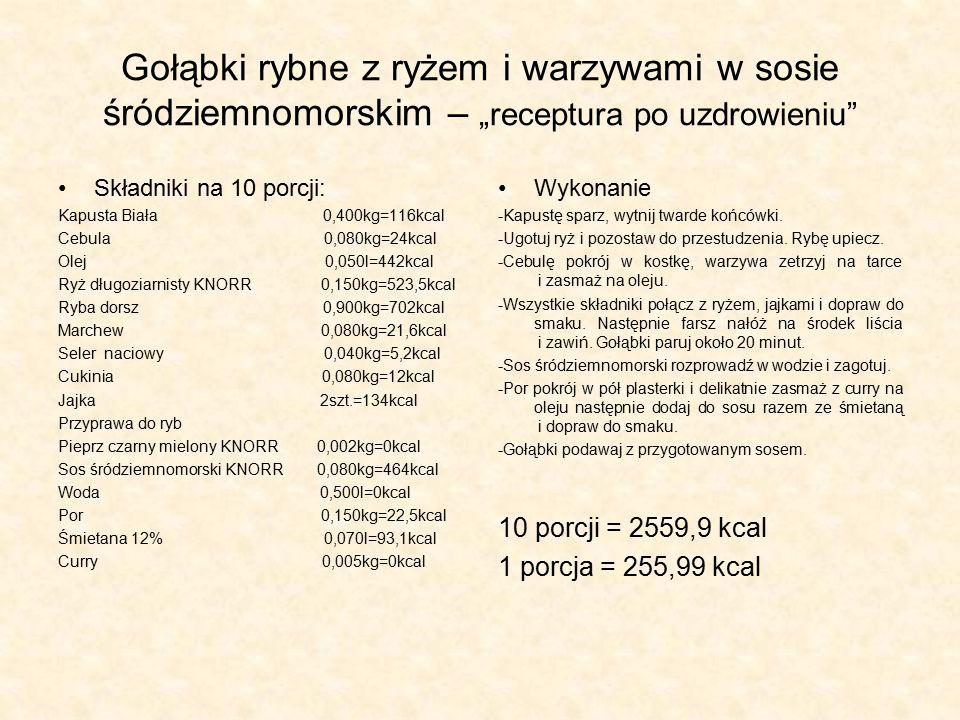 Zmiany w daniu : -Mięso mielone wieprzowe zamieniłyśmy na rybę Dorsz, ponieważ zawiera dobre wielonienasycone kwasy tłuszczowe.